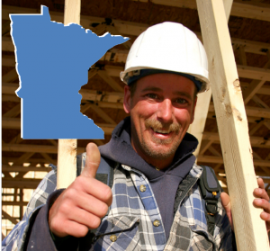 Minnesota builder with thumbs up