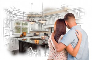 Young couple looking at their dream kitchen