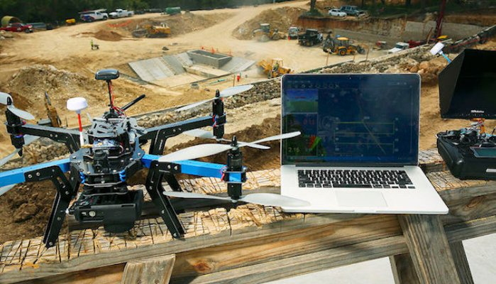 Drone used for mapping on job site