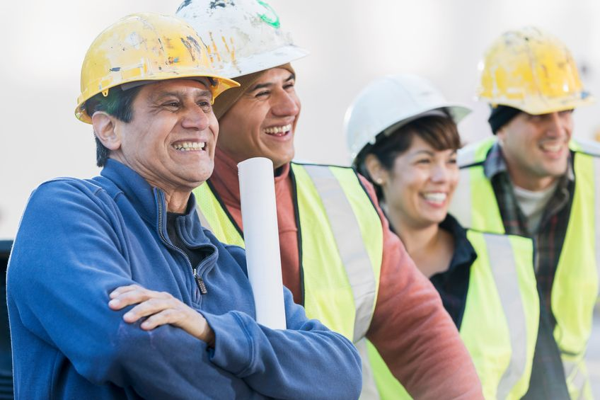 Group of multiracial construction workers