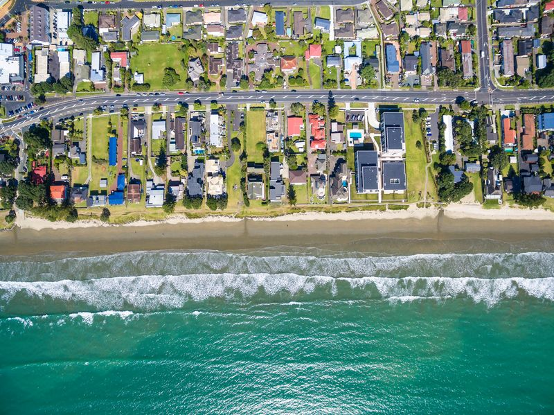 Orewa Beach aerial view