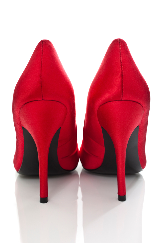 Sexy Red High Heel Shoes. Isolated on white.