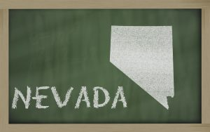 drawing of nevada state on chalkboard, drawn by chalk