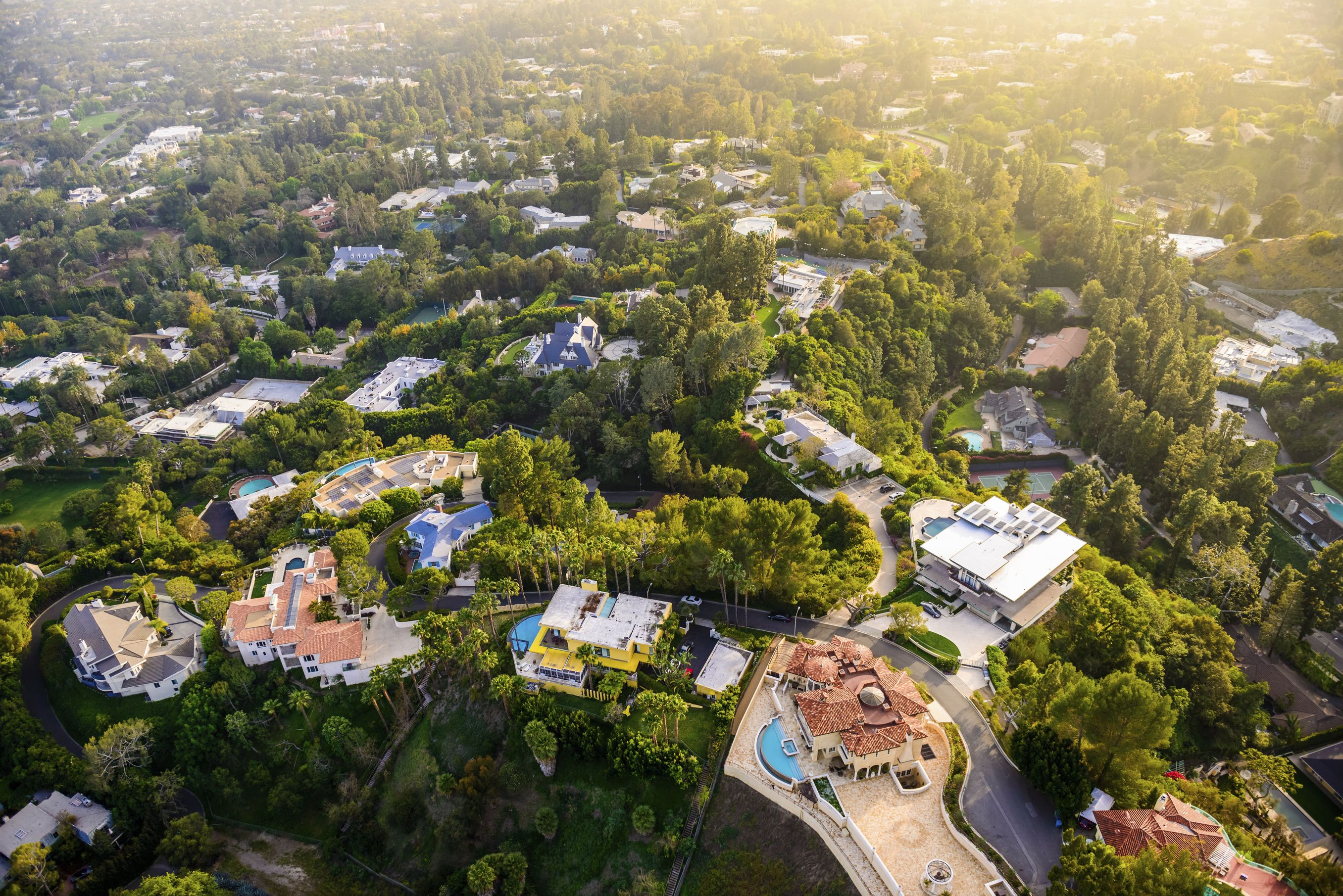 Beverly Hills mansions landscape aerial view -Los Angeles