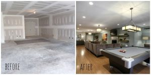 before-and-after-picture-of-basement-remodel-compressor