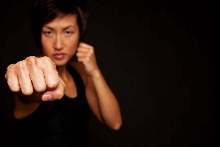 Woman In Self-Defense Pose