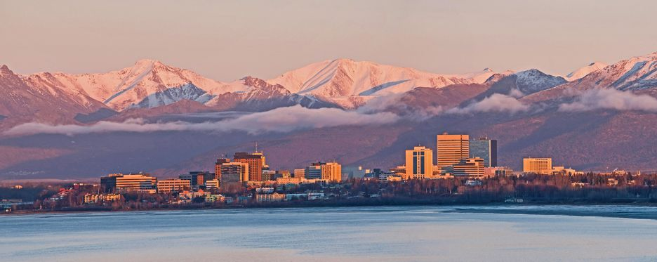 Alaska Cityscape With Lake & Mountains