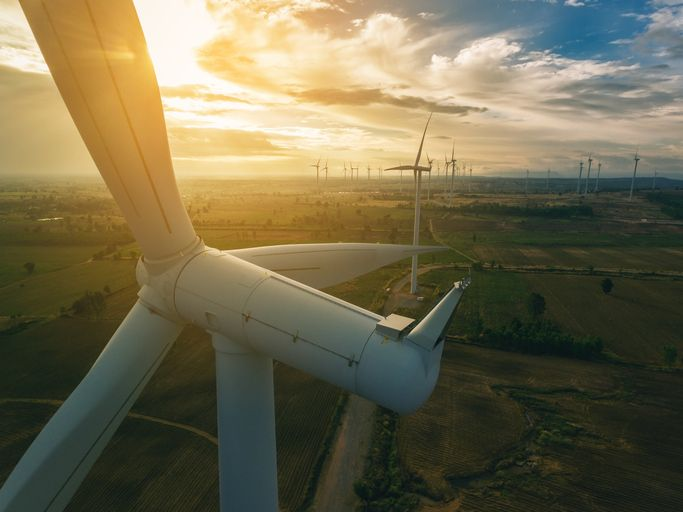 Drone View of Wind Turbine